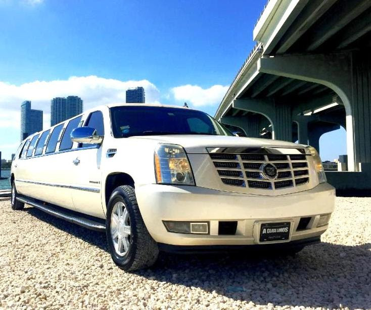 Naples White Escalade Limo